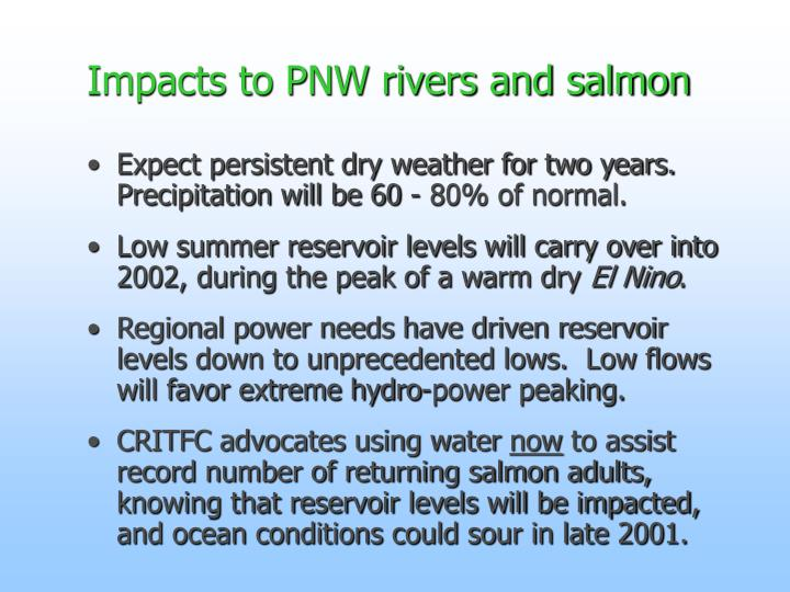 Impacts to PNW rivers and salmon
