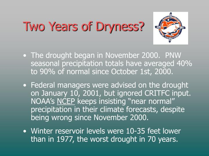 Two Years of Dryness?