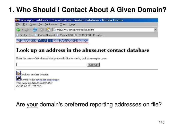 1. Who Should I Contact About A Given Domain?