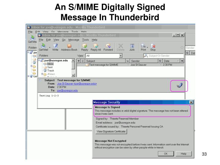 An S/MIME Digitally Signed