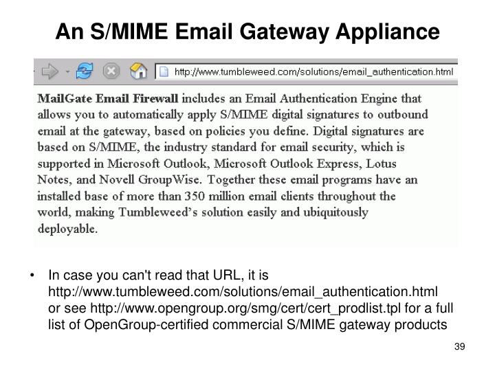 An S/MIME Email Gateway Appliance