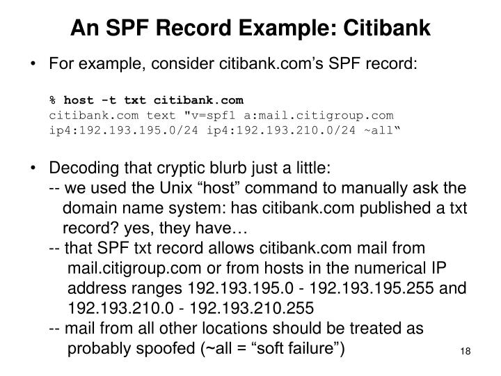 An SPF Record Example: Citibank