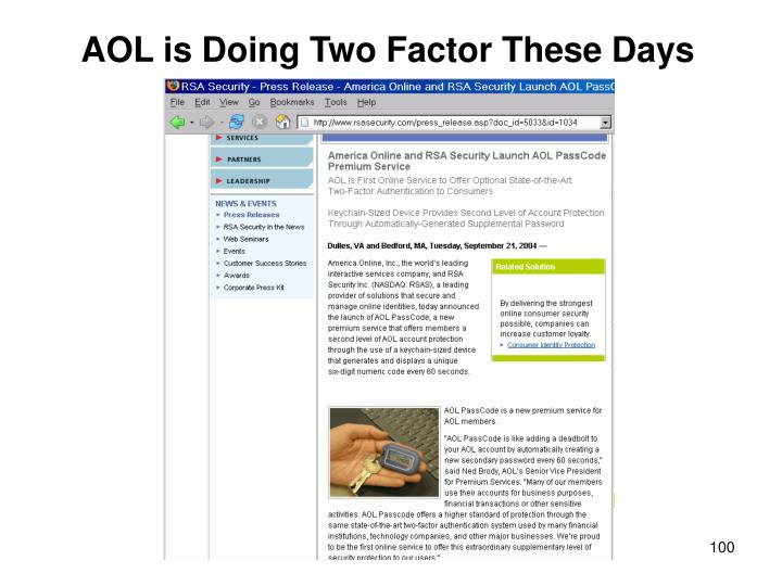 AOL is Doing Two Factor These Days