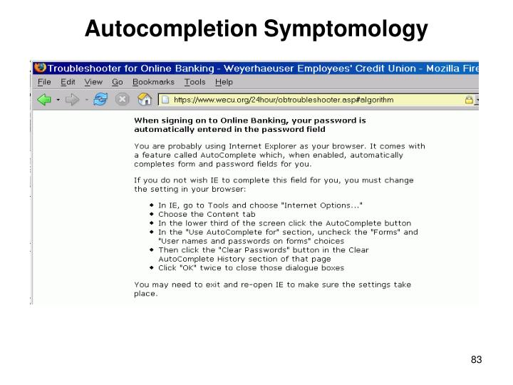 Autocompletion Symptomology