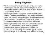 being pragmatic
