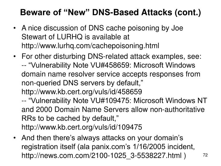 "Beware of ""New"" DNS-Based Attacks (cont.)"