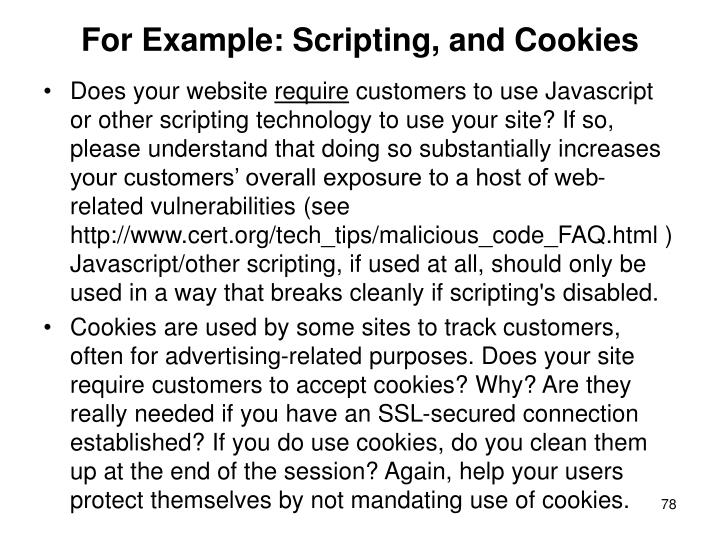 For Example: Scripting, and Cookies