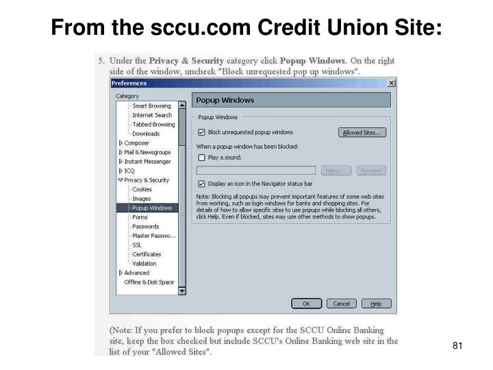 From the sccu.com Credit Union Site: