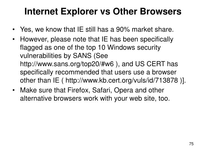 Internet Explorer vs Other Browsers