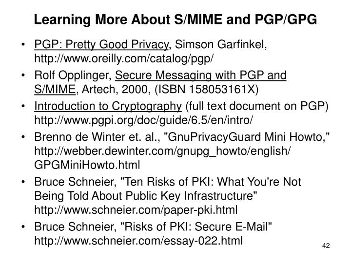 Learning More About S/MIME and PGP/GPG