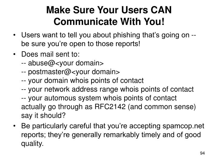 Make Sure Your Users CAN