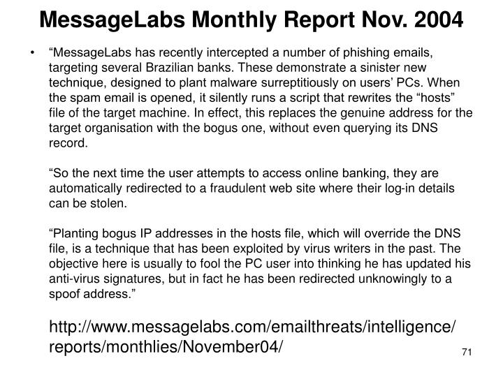 MessageLabs Monthly Report Nov. 2004