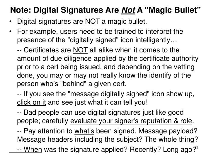 Note: Digital Signatures Are