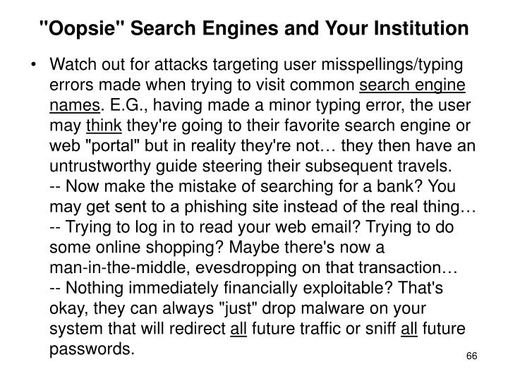 """Oopsie"" Search Engines and Your Institution"