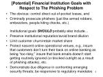 potential financial institution goals with respect to the phishing problem