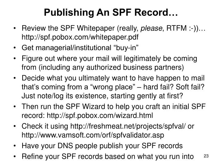 Publishing An SPF Record…