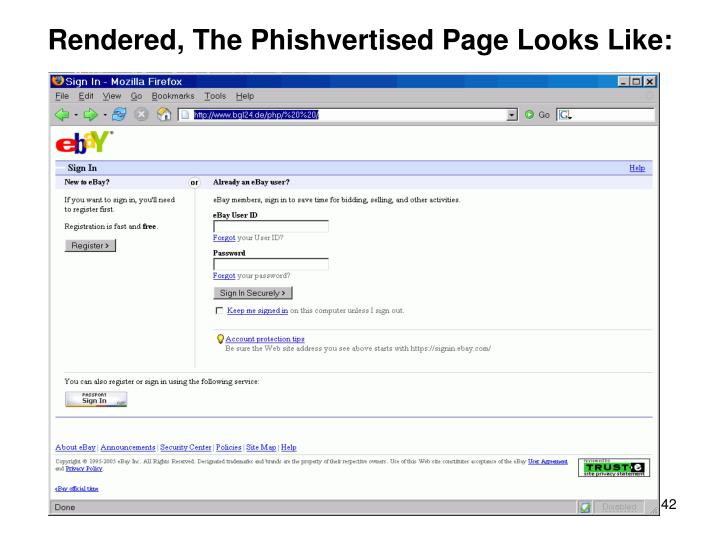 Rendered, The Phishvertised Page Looks Like:
