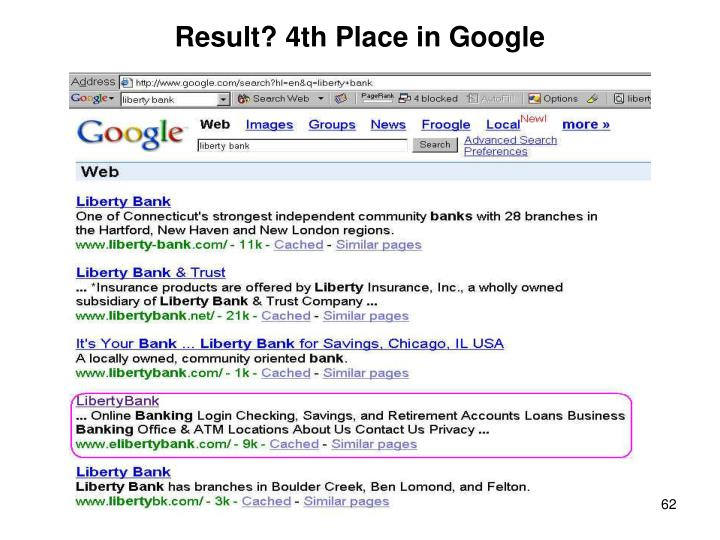 Result? 4th Place in Google