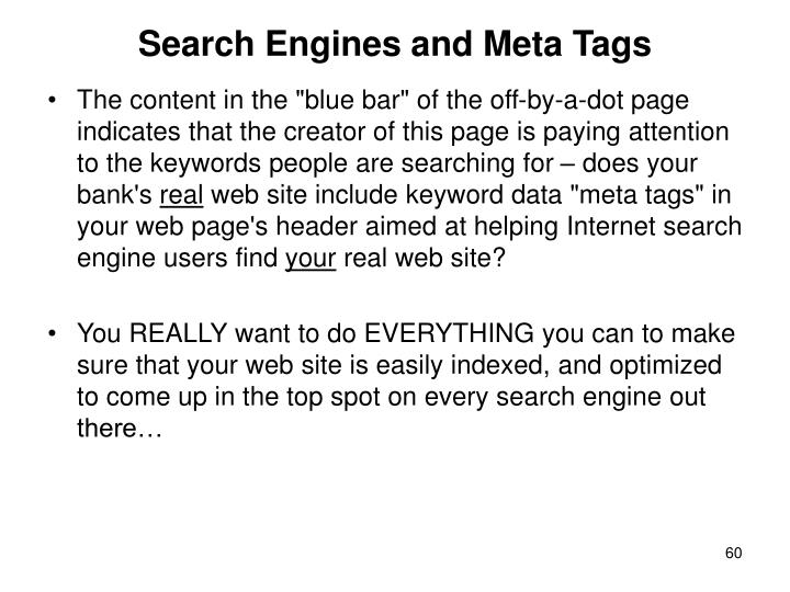 Search Engines and Meta Tags