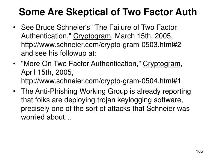 Some Are Skeptical of Two Factor Auth