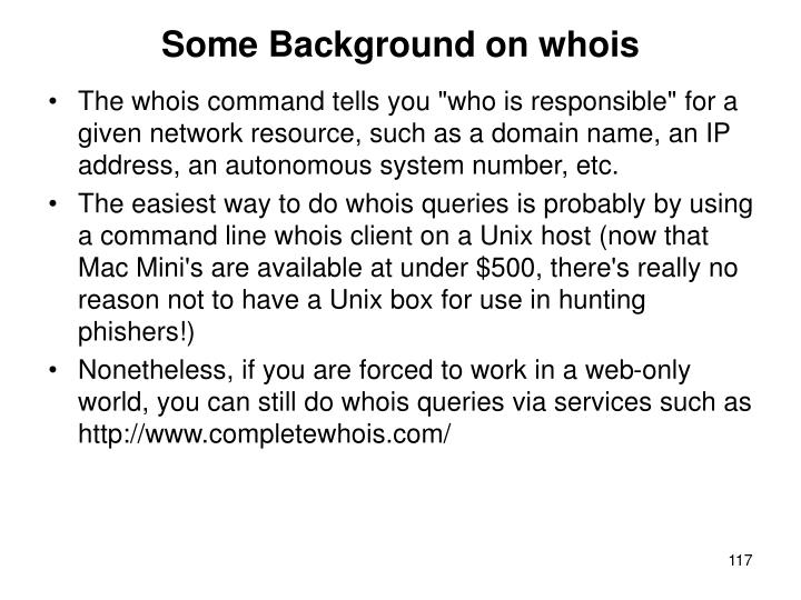 Some Background on whois
