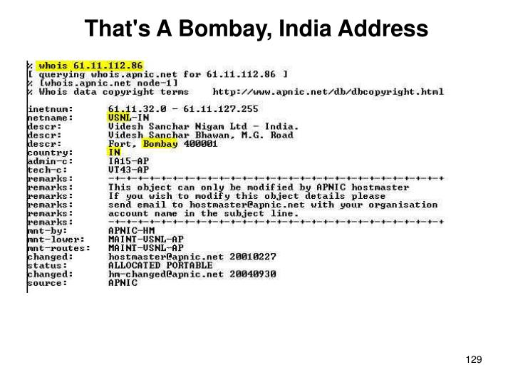 That's A Bombay, India Address
