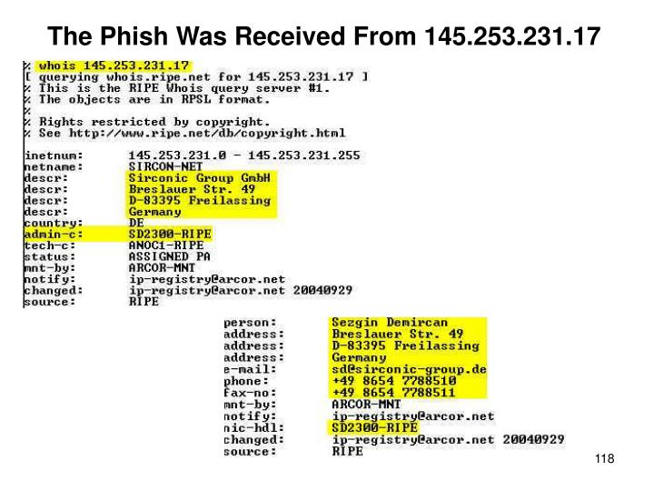 The Phish Was Received From 145.253.231.17