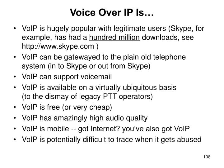 Voice Over IP Is…