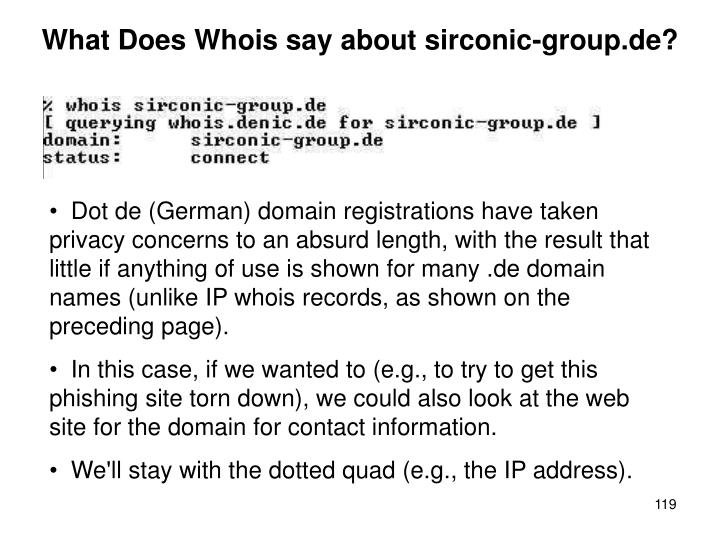 What Does Whois say about sirconic-group.de?