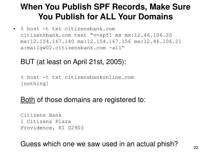 When You Publish SPF Records, Make Sure You Publish for ALL Your Domains