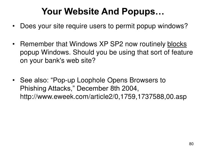 Your Website And Popups…