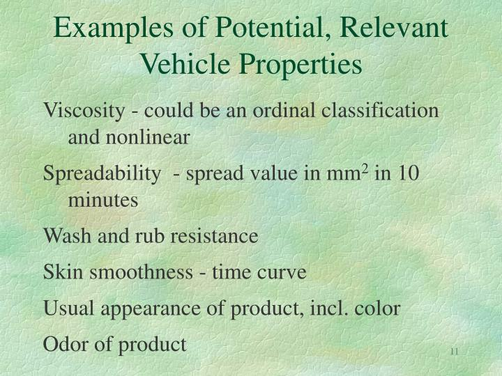 Examples of Potential, Relevant Vehicle Properties