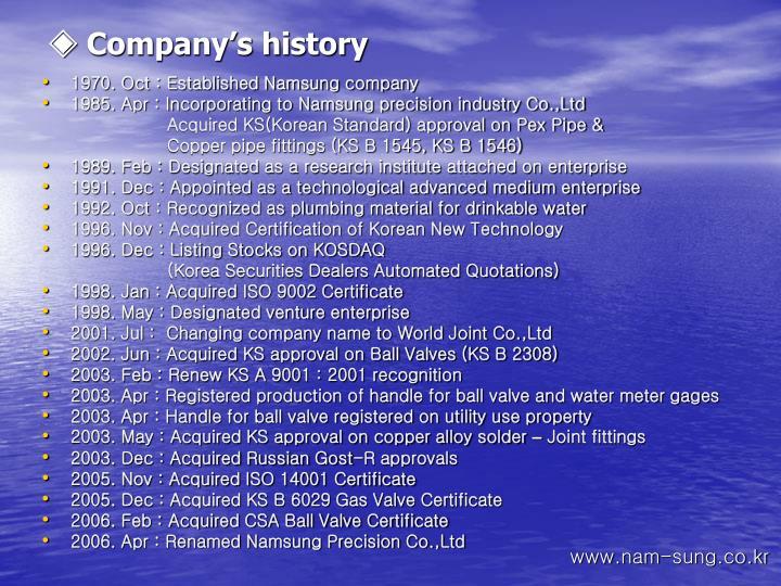 ◈ Company's history