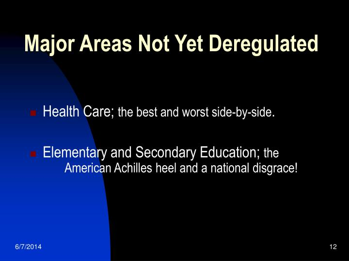 Major Areas Not Yet Deregulated