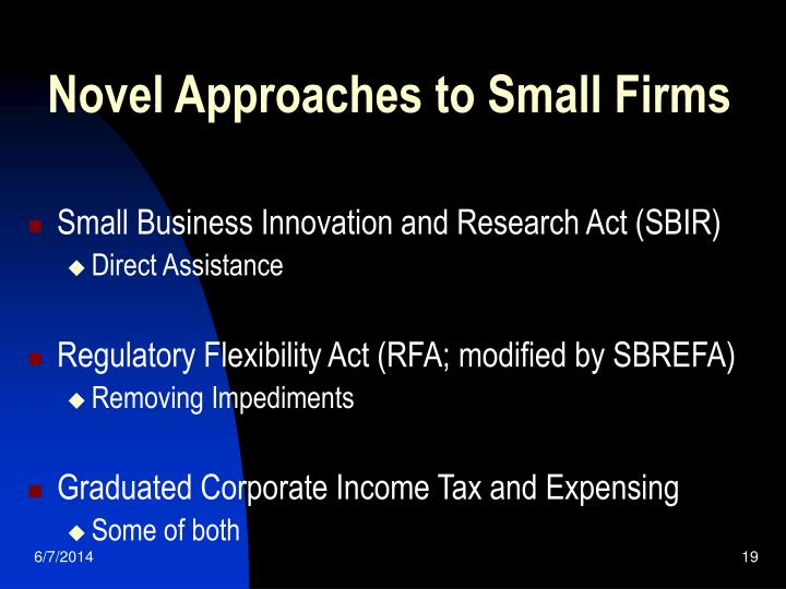Novel Approaches to Small Firms