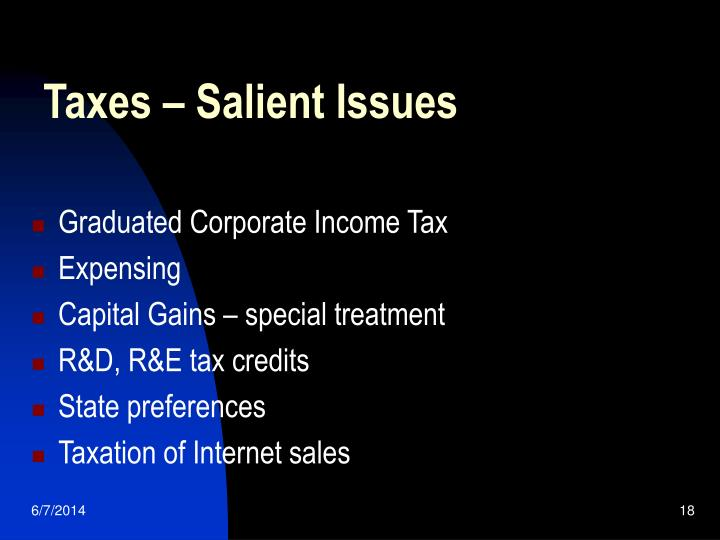 Taxes – Salient Issues