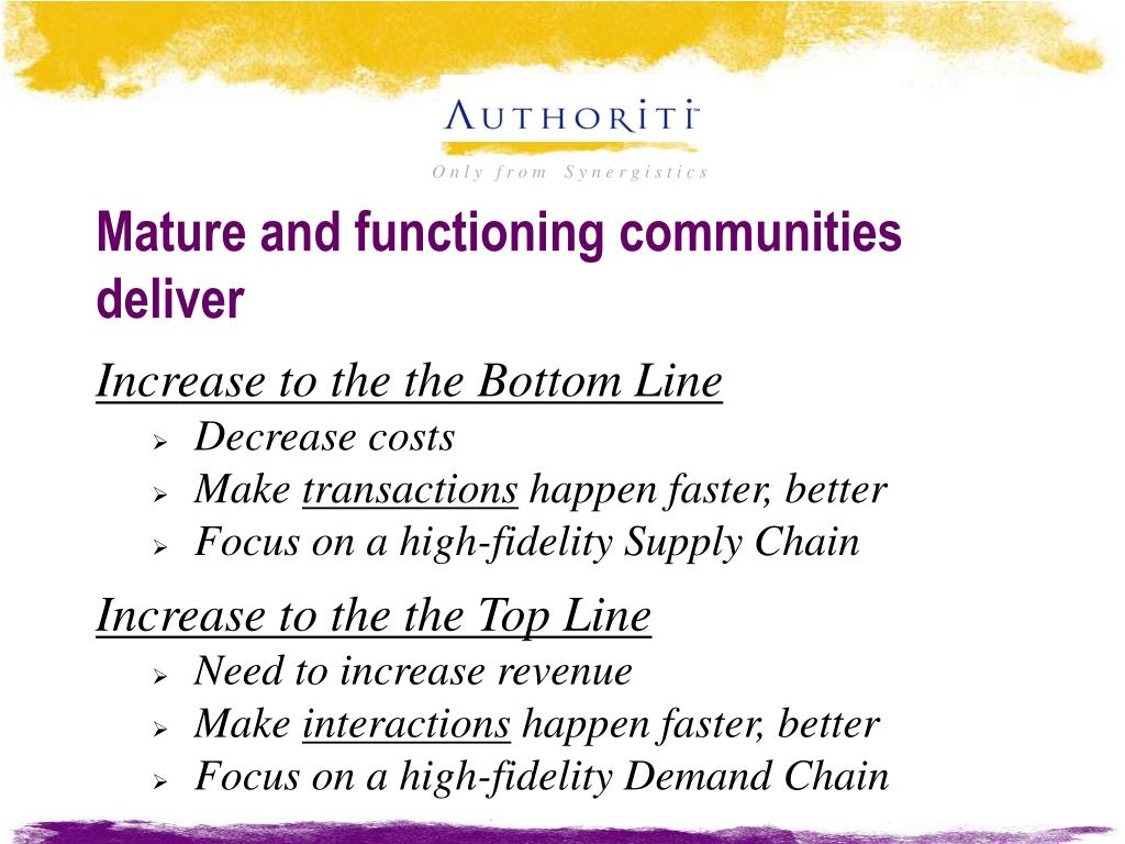 Mature and functioning communities deliver
