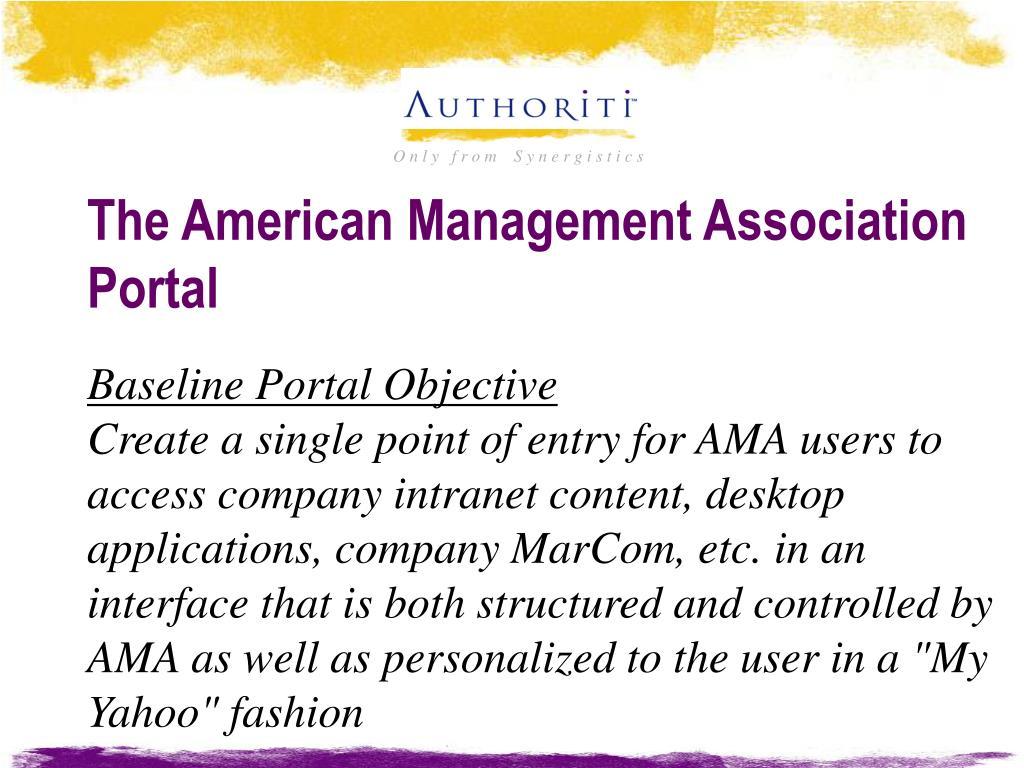 The American Management Association Portal