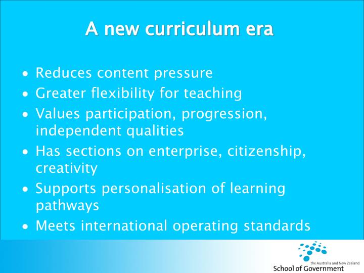 A new curriculum era