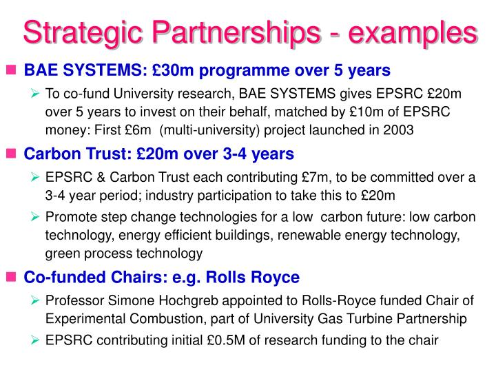 Strategic Partnerships - examples