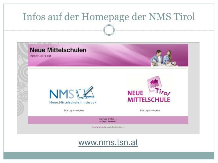 Infos auf der Homepage der NMS Tirol