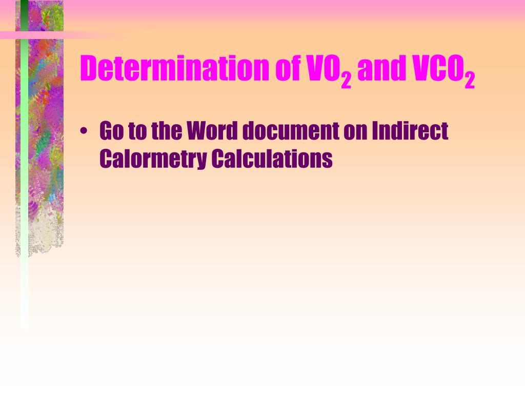 Determination of VO