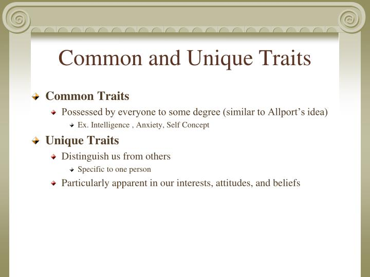 the traits that distinguish us Short summary of core personality traits estimate what another person's brigs myers' personality type letters and jungian preferences might be.