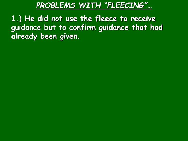 "PROBLEMS WITH ""FLEECING""…"