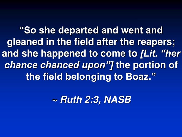 """So she departed and went and gleaned in the field after the reapers; and she happened to come to"