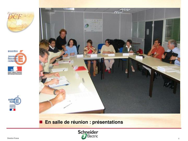 En salle de réunion : présentations