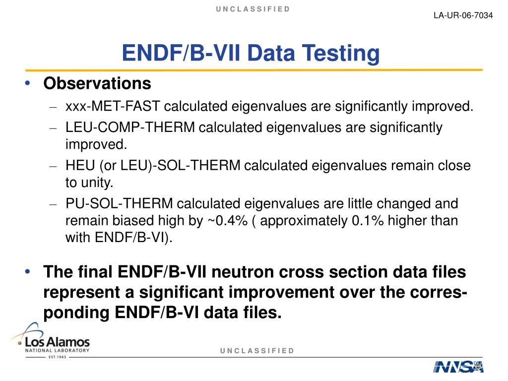 ENDF/B-VII Data Testing