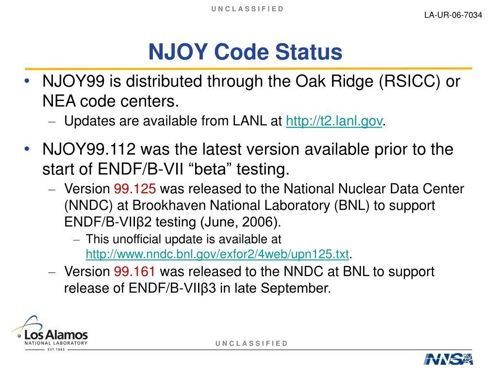 NJOY Code Status