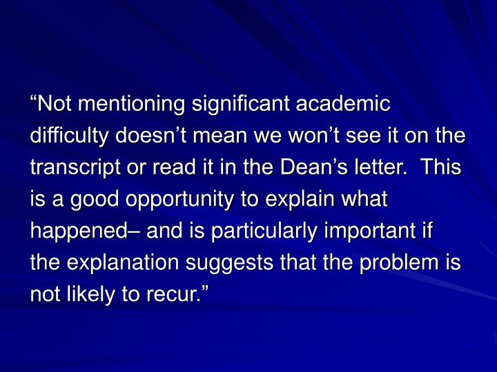 """Not mentioning significant academic"