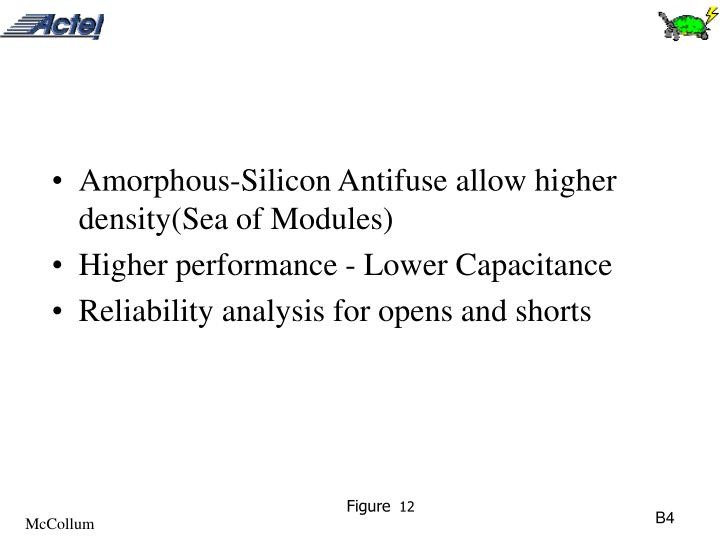 Amorphous-Silicon Antifuse allow higher density(Sea of Modules)
